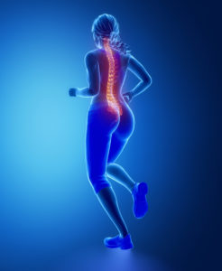 Running womna spine problem concept